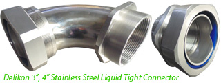 "Delikon 3"", 4"" Stainless Steel Liquid Tight Connector with male or female threads for water treatment plant cable protection"