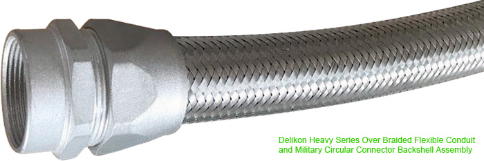 Delikon EMI Shielding Heavy Series Over Braided Flexible Conduit and Military Circular Connector Backshell Assembly