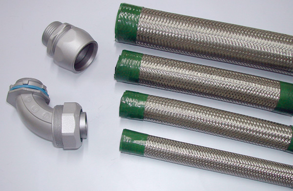 Connectors For Braided Flexible Electrical Conduit Systems