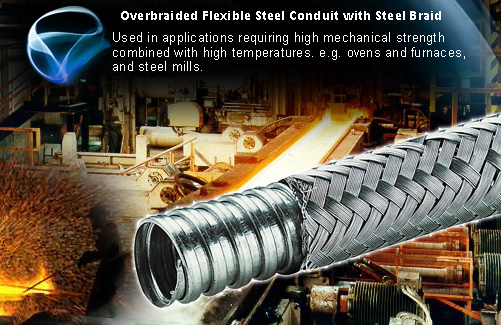 Over braided Flexible Steel Conduit For High Temperature Wiring
