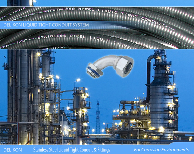DELIKON stainless steel liquid tight conduit and stainless steel liquid tight connector are relied upon by leading petrochemical organisations for protection of their electrical and data cables in Corrosion Environments.
