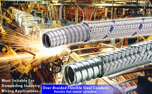 Braided flexible steel conduits for protection of wirings in automobile welding lines.